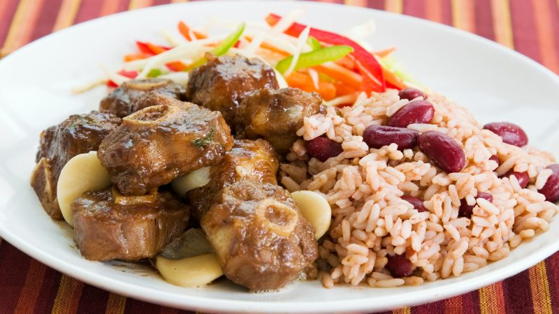 Caribbean food, oxtail with rice and peas