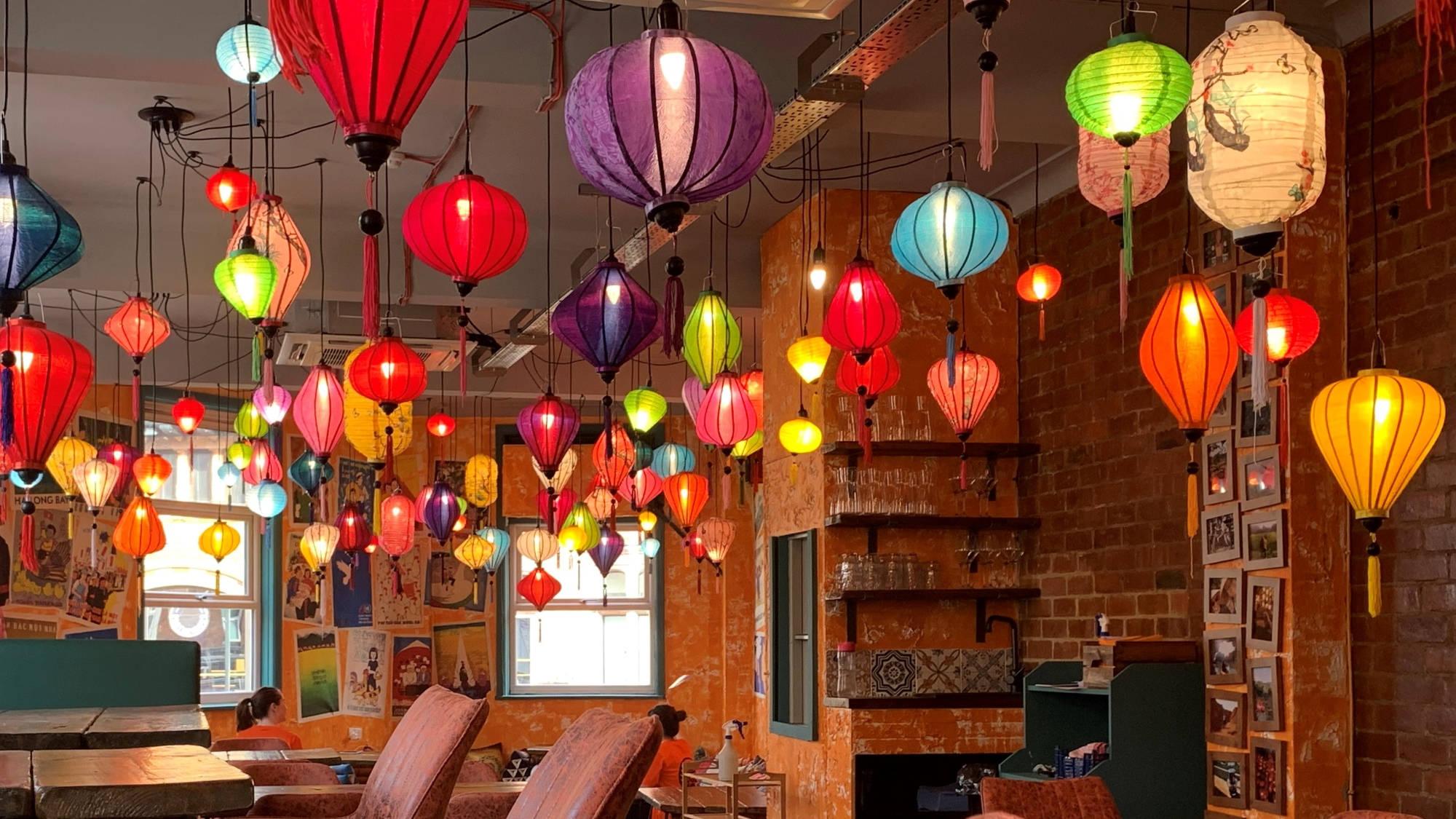 lanterns in nam song caphe