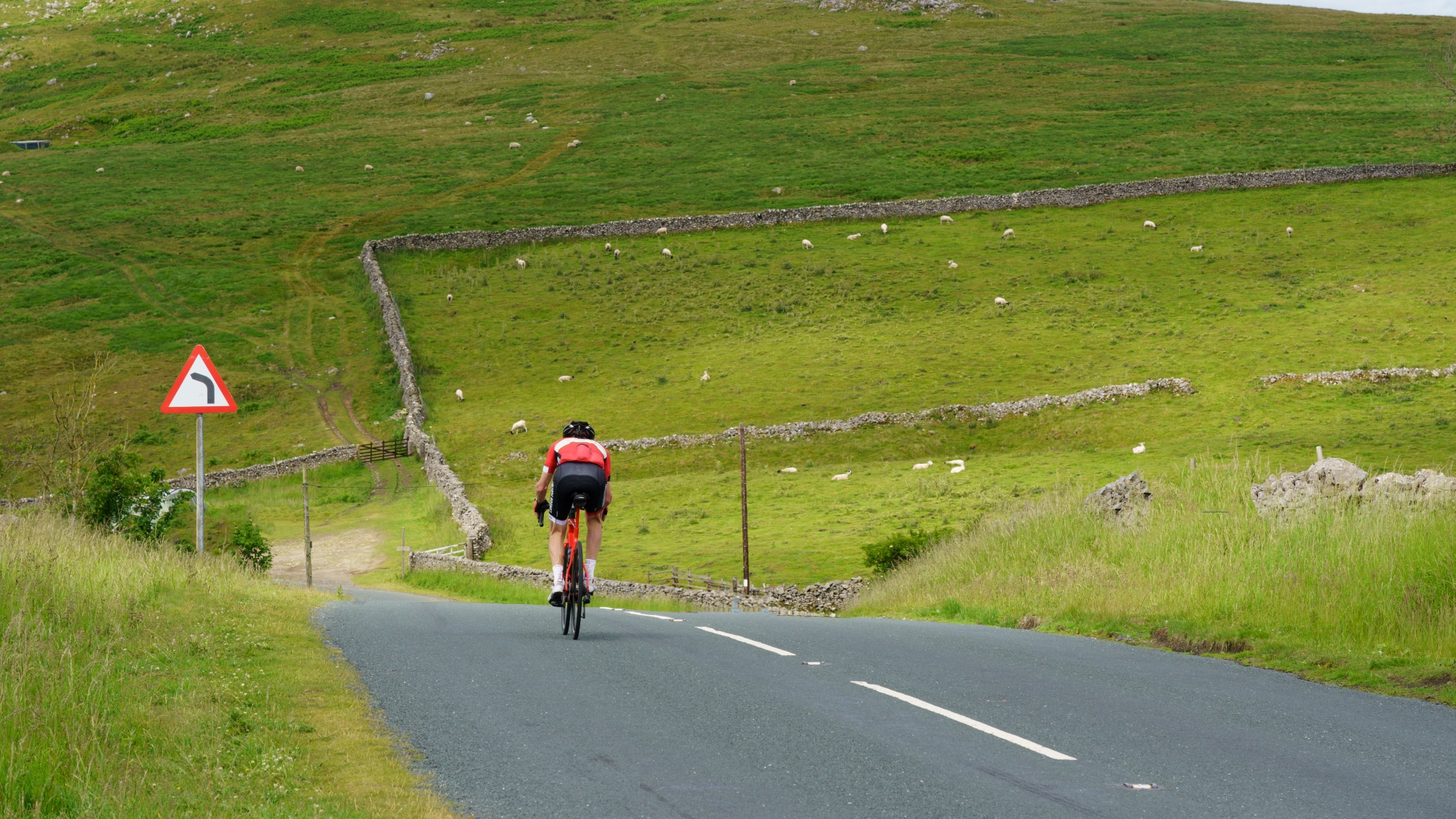 person cycling in yorkshire